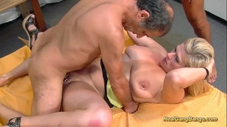 Busty extraordinary pierced milf acquires giant group-fucked