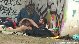 Pure street life homeless three-some having sex on public