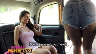 Female fake taxi lesbo bawdy cleft eating session in cab