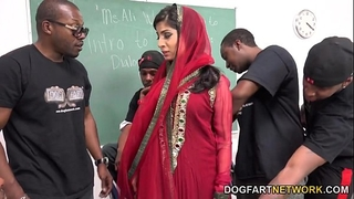 Nadia ali learns to handle a bunch of dark schlongs