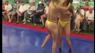 Topless chicks fight