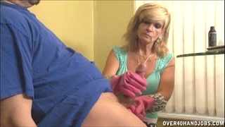 Mature slutty wife gloved cook jerking
