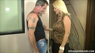 Hot breasty milf jerks off a older fellow