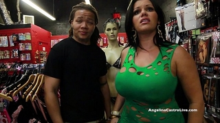 Big titted angelina castro bonks & squirts in a sex store!?