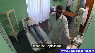 Doctor rubs his blond patient petite whoppers
