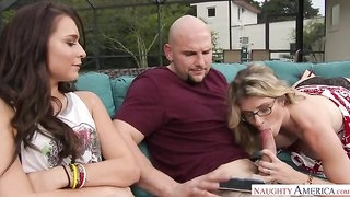 Superb threesome with blonde MILF and her stepdaughter