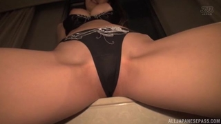 Asian hottie rides thick throbbing cock with her panties on