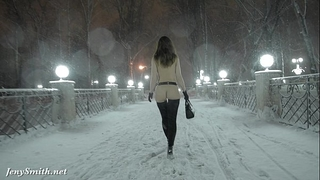 Jeny smith stripped in snow fall walking throughout the town