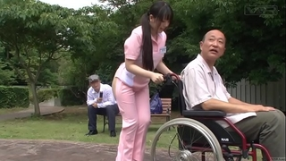Subtitled extreme japanese half in nature's garb caregiver outdoors