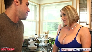 Voluptuous golden-haired mama maggie green gives titjob